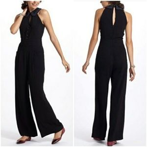 Anthropologie Pants - Elevenses Jumpsuit with beaded collar